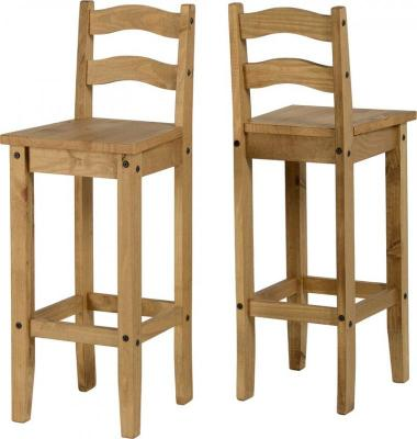 BBS587  Corona Bar Chair in Distressed Waxed Pine PAIR