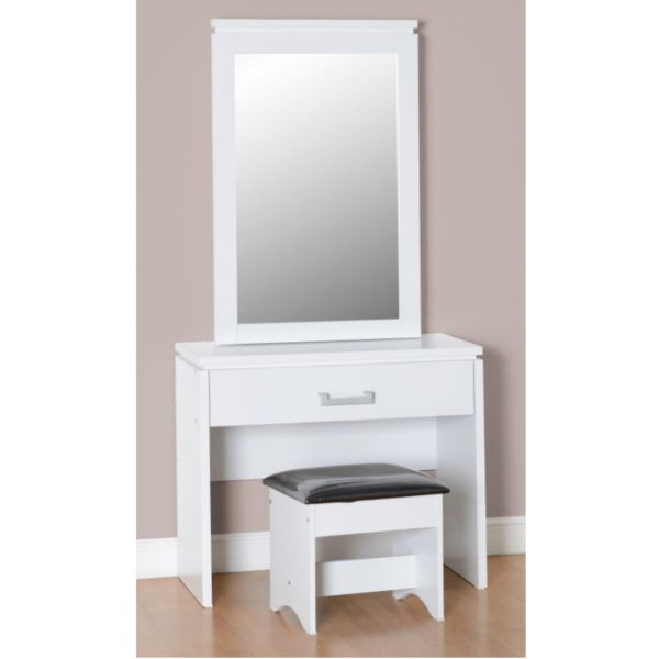 BBS591  CHARLES Dressing table and stool in White