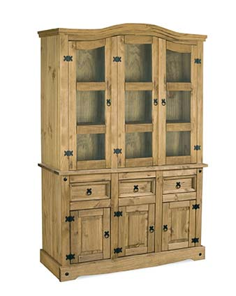 BBS600  Corona 4Ft6 Buffet Hutch in Distressed Waxed Pine  Clear Glass