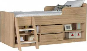 BvBS637  Felix Low Sleeper Bed in Sonoma Oak Effect Veneer