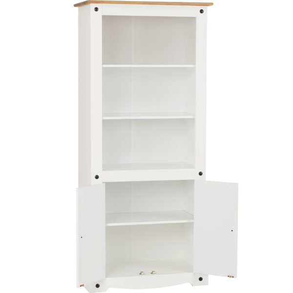 BBS642  Corona 2 Door Display Unit  Bookcase in White  Distressed Waxed Pine