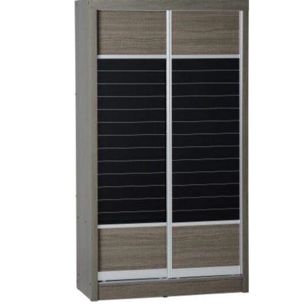 BBS643   Lisbon 2 Door Sliding Wardrobe    Black Wood Grain