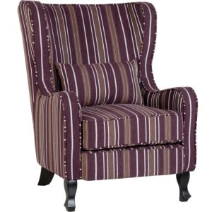 BBS654  Sherborne armchair in Burgundy Stripes.