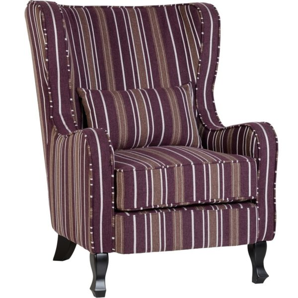 BBS654  Sherborne armchair in Burgundy Stripes.