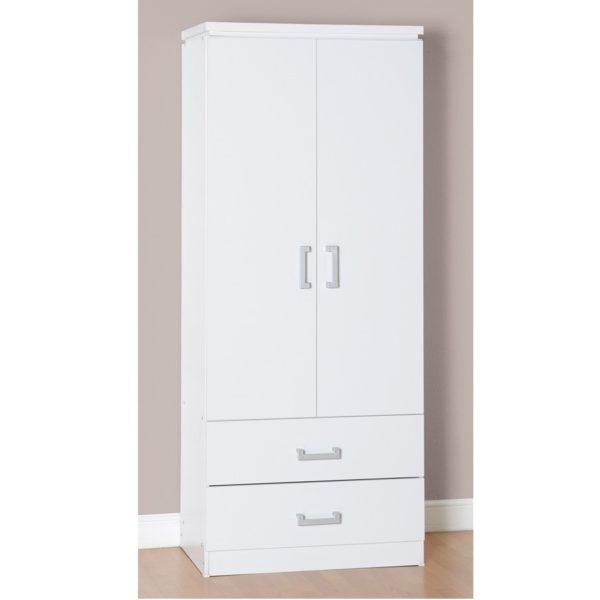 BBS688  CHARLES 2 DOOR 2 DRAWER WARDROBE  in White