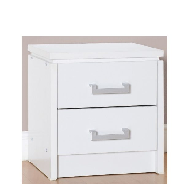 BBS689  CHARLES 2 DRAWER BEDSIDE CHEST in White