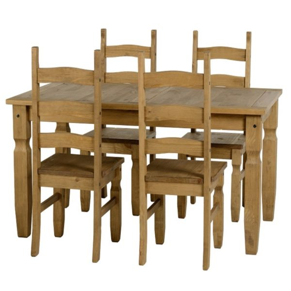 BBS701  CORONA 5 foot DINING SET in Distressed Waxed Pine
