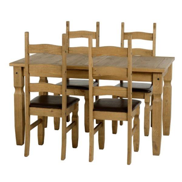 BBS702  CORONA 5 foot DINING SET in Distressed Waxed Pine Dark
