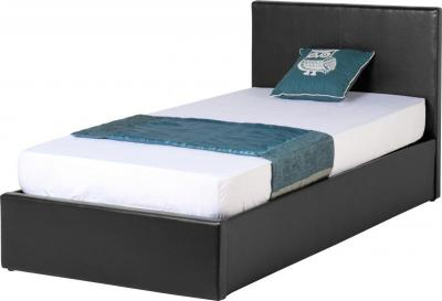BuBED15Y  Waverley 3Ft Storage Bed   Black PU  Mattress not included.
