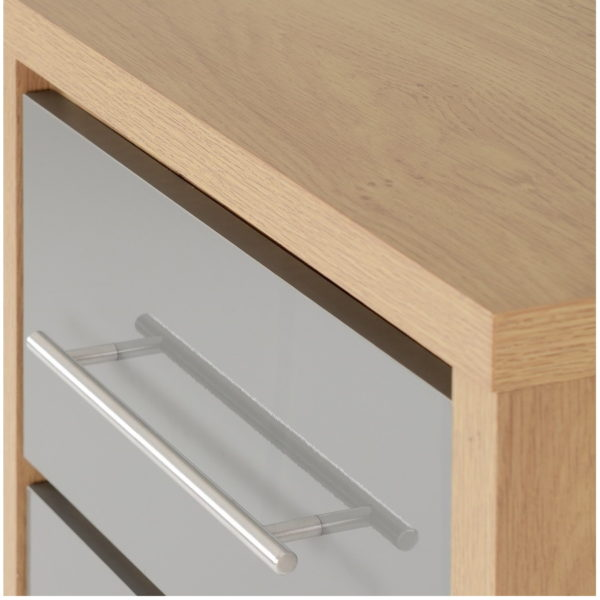 BBS1069  Seville 5 Drawer Narrow Chest  in Grey High Gloss/  Light Oak Effect Venner edging.