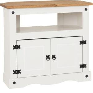 BBS1086  Corona Corner TV Cabinet in White
