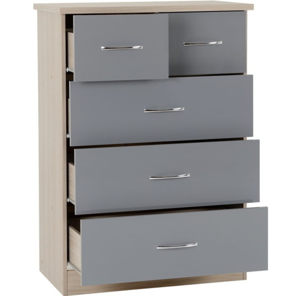 BBS1101  Nevada 3 + 2 Chest of Drawers in Grey