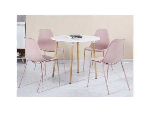 BBS1176  Lindon dining set with 4 chairs in pink and white.