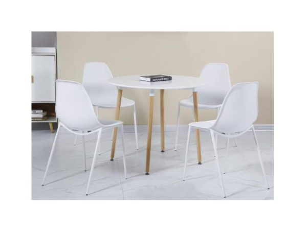 BBS1177  Lindon dining set with 4 chairs in grey and white.