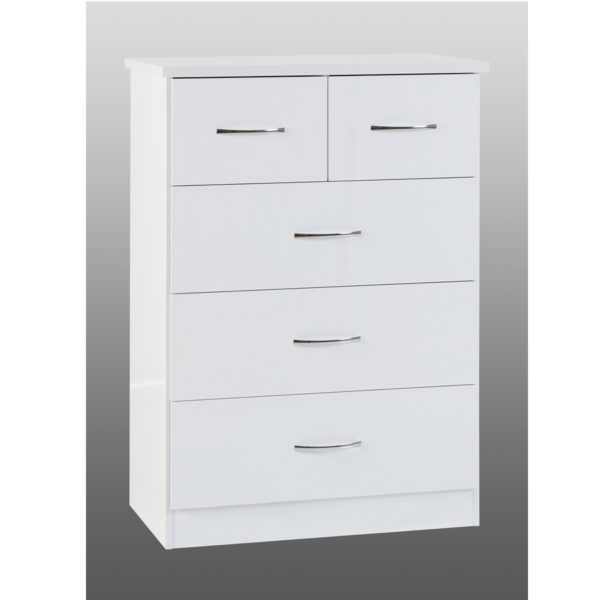 BBS1181  Nevada 3+2 Chest of drawers in White Gloss.