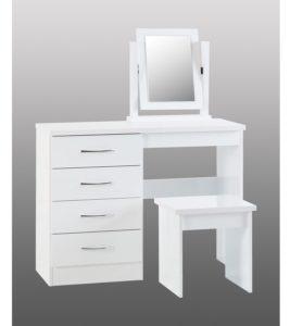 BBS1184  Nevada Dressing table set in White Gloss.