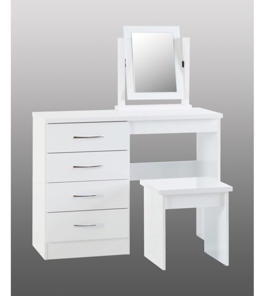 BBS1184  Nevada Dressing table set in White Gloss.
