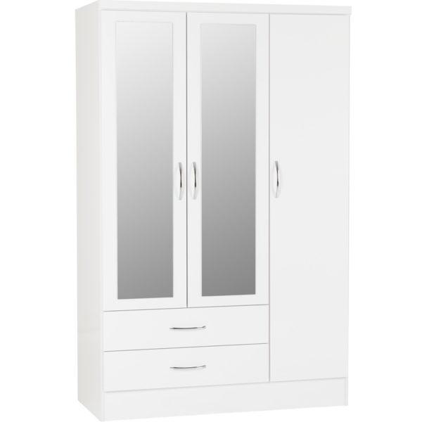 BBS1198  Nevada 3 door 2 drawer Wardrobe in White Gloss.