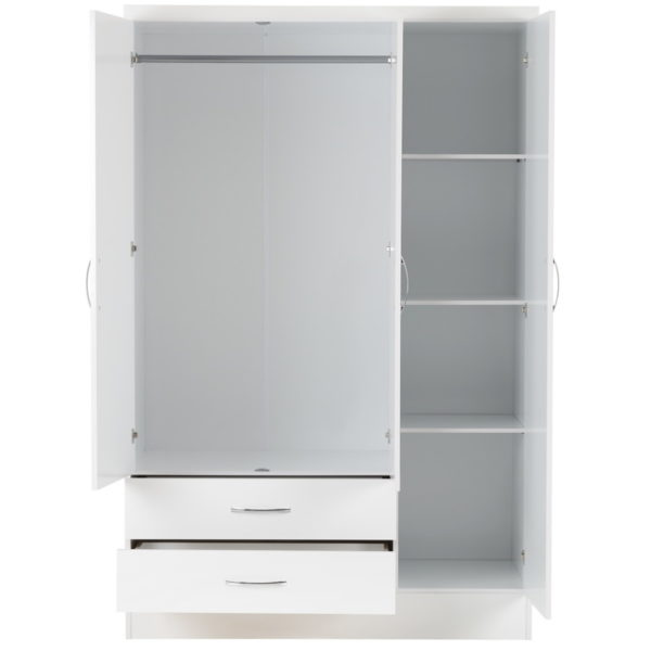 BBS1198  Nevada 3 door 2 drawer Wardrobe in White Gloss.