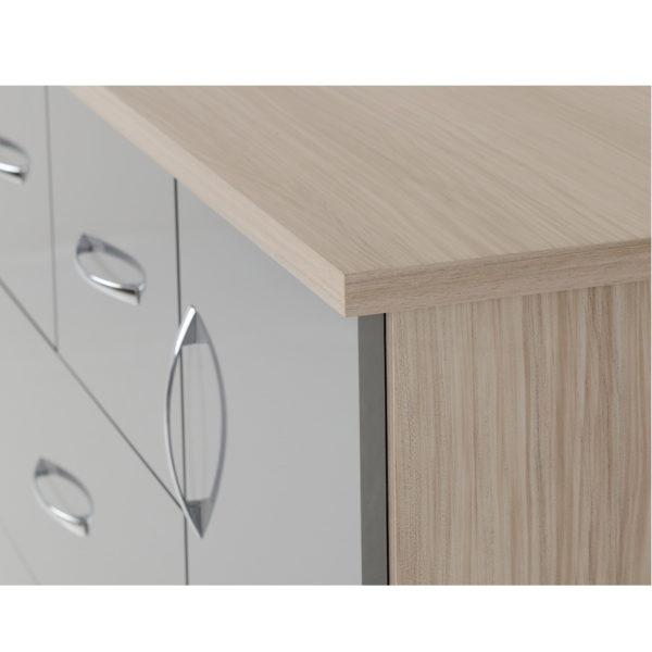 BBS1203  Nevada five drawer low wardrobe in grey gloss.