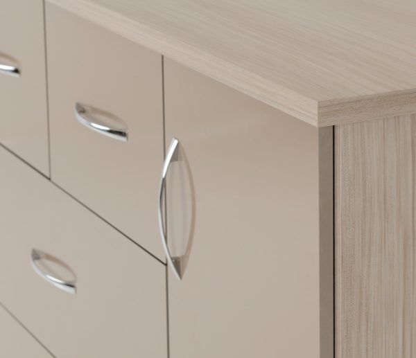 BBS1204  Nevada five drawer low wardrobe in oyster gloss.