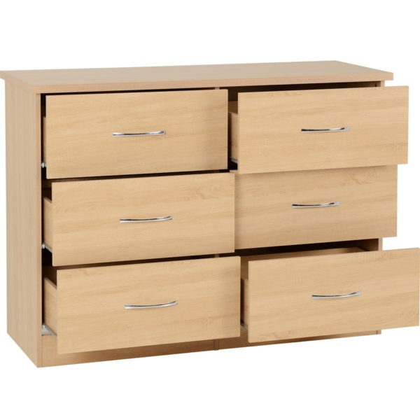 BBS1205  Nevada six drawer chest in Sonoma Oak effect.