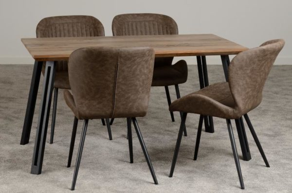BBS1211  Quebec dining set with 4 chairs straight edge.