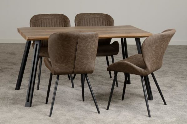 BBS1212  Quebec dining set with 4 chairs wave edge.