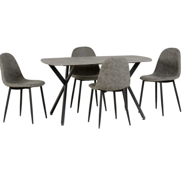 BBS1221  Athens Dining table and 4 chairs in Grey.