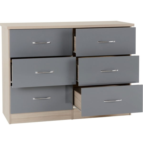 BBS1303  Nevada six drawer chest in Grey Gloss.