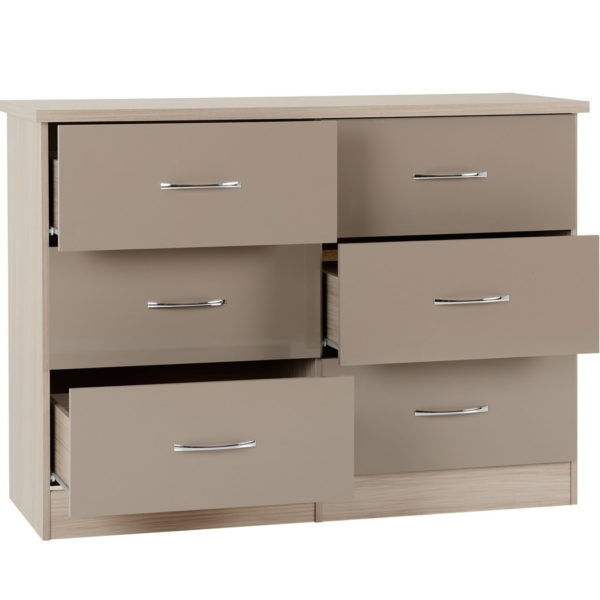 BBS1304  Nevada six drawer chest in Oyster Gloss.