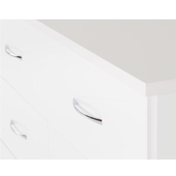 BBS1306  Nevada five drawer low wardrobe in White Gloss.