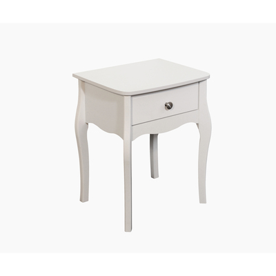 BBS1340  Baroque 1 Drawer Nightstand in White