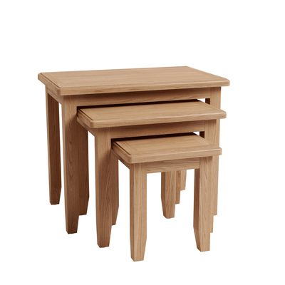 BBS1366  GAO Nest of 3 Tables with solid oak frame.