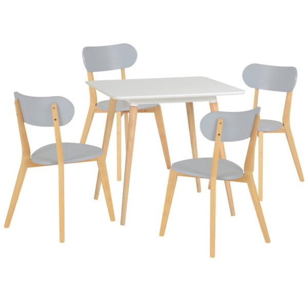 BBS1439  Julian dining set with 4 chairs in White and Grey.