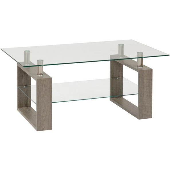 BBS1449  Milan Coffee table in Light Charcoal and Glass.