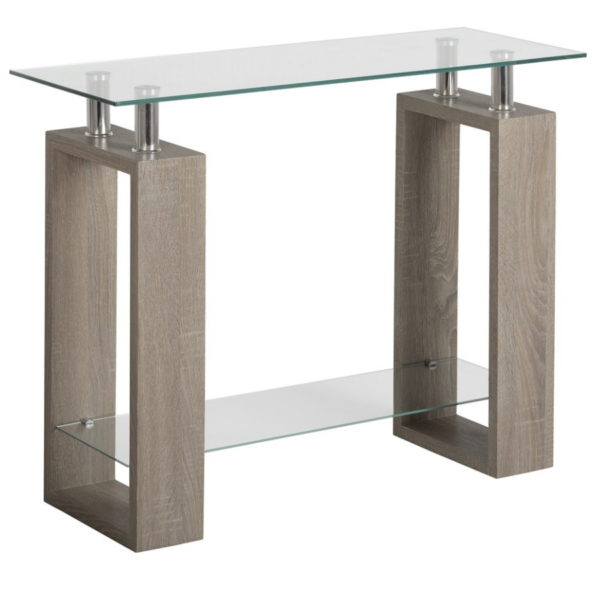 BBS1450  Milan Console table in Light Charcoal and Glass.
