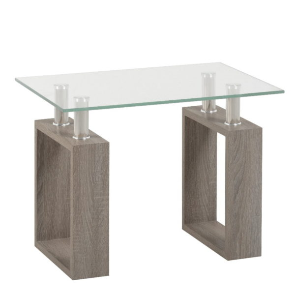 BBS1451  Milan Lamp table in Light Charcoal and Glass.