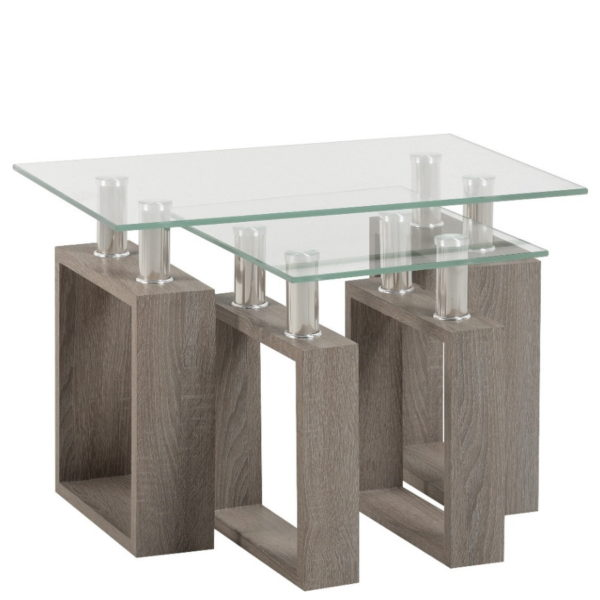 BBS1452  Milan Nest of Tables in Light Charcoal and Glass.