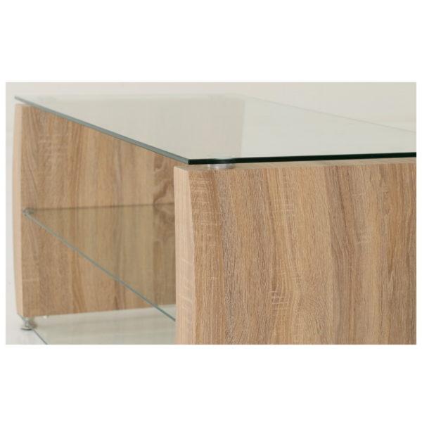 BBS1454  Monza TV unit in Light Sonoma Oak Effect / Glass