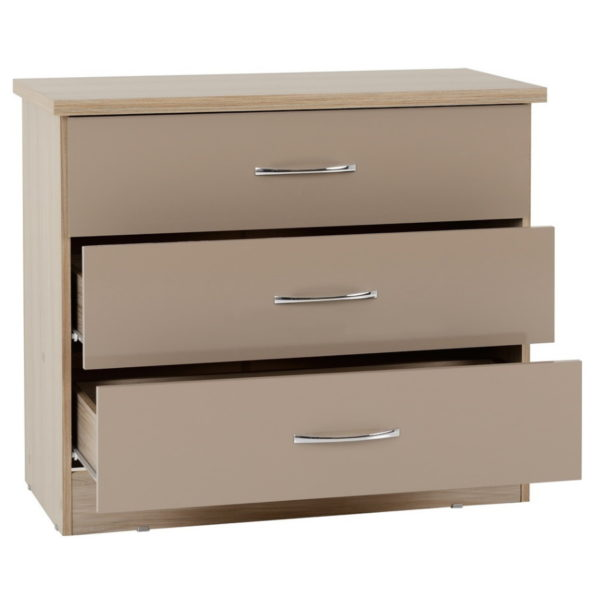 BBS1471  Nevada 3 drawer Chest in Oyster gloss.