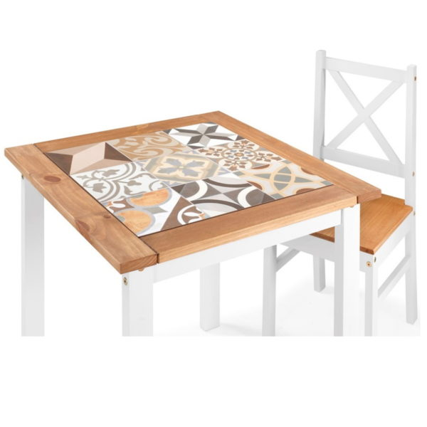 BBS1473  Salvador Tiled top dining set with 2 chairs in White.
