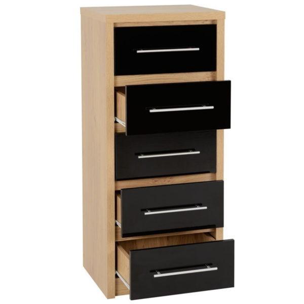 BBS1474  Seville 5 drawer tallboy in Black gloss..