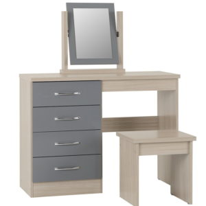 BBS1476  Nevada 4 drawer Dressing table set in Grey gloss.