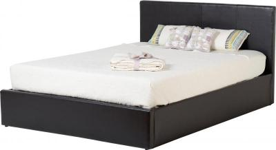 BwBS514  Waverley 4Ft6inch Storage Bed   Expresso Brown PU Mattress not included.
