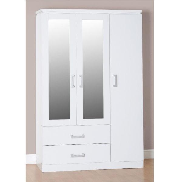 BBS580  BRAND NEW CHARLES 3 door 2 drawers white wardrobe.