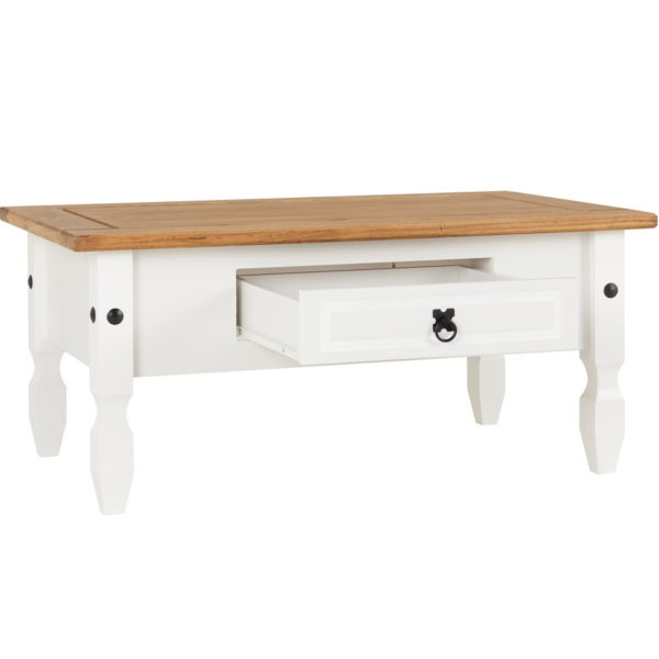 BBS609  Corona 1 drawer Coffee table in White  and  Distressed Waxed Pine top