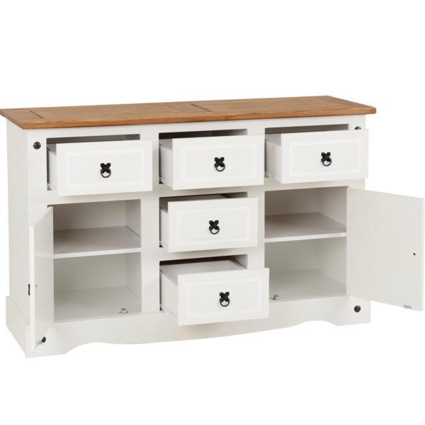 BBS623  Corona 2 door 5 drawer sideboard in White