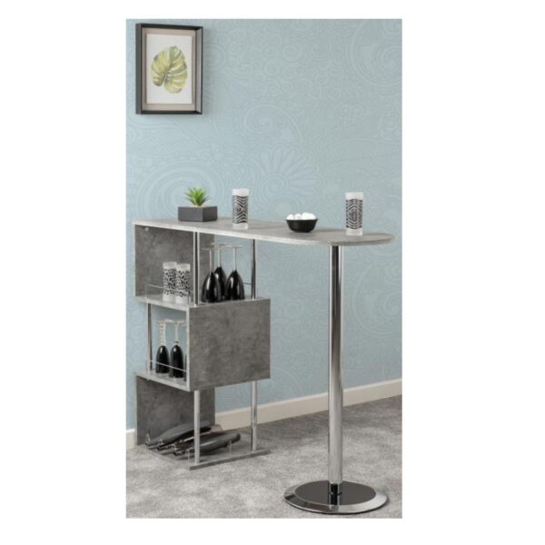 BBS1506  Charisma Home Bar Table in Concrete Effect/Chrome