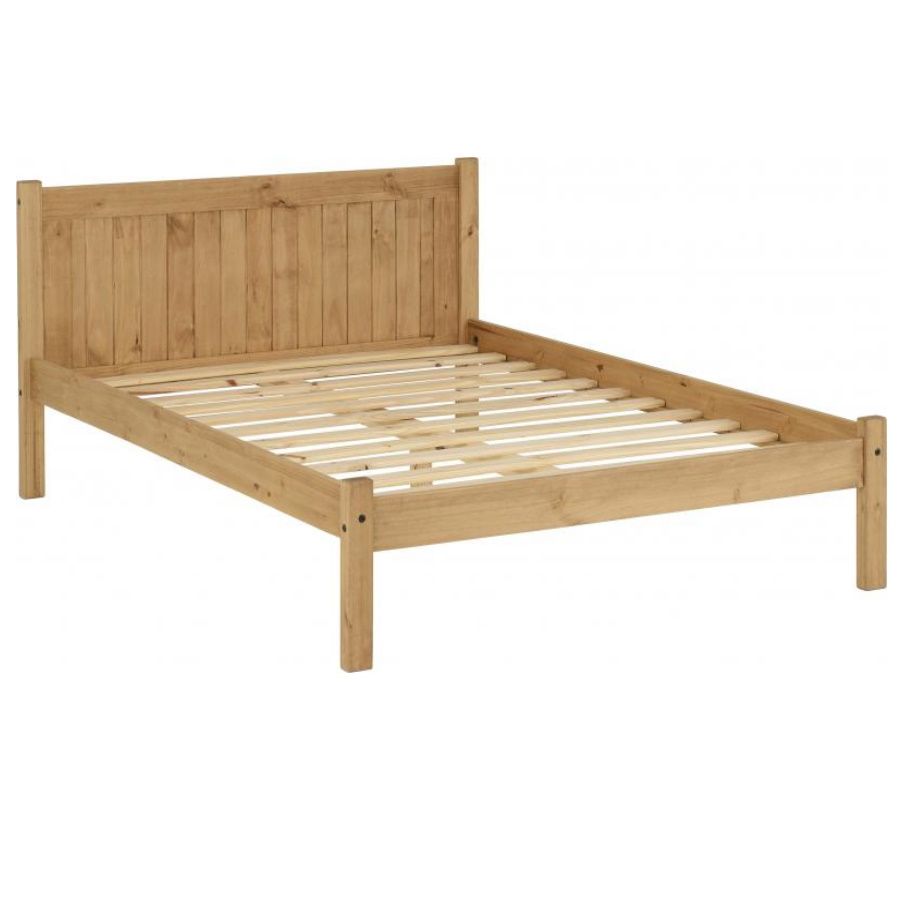 BwBS1509  Maya 4ft6 bed in Distressed Waxed Pine.